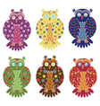 Set of six colourful funny owls over white vector image