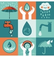 set retro flat banners - save water vector image vector image
