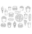 sketch fast food meals isolated icons vector image vector image