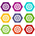 sprocket from bike icon set color hexahedron vector image vector image