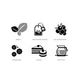 tea icons set mint infusion bag blackberry vector image vector image