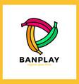 three bananas play media logo vector image vector image