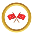 Turkey crossed flags icon vector image vector image