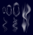 white smoke collection on blue background vector image vector image