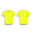 yellow male t-shirt template v-neck front and vector image