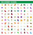 100 honey icons set cartoon style vector image vector image
