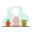 a portable humidifier air diffuser and home plants vector image vector image