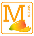 an alphabet with cute fruits letter m mango vector image vector image