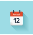 August 12 flat daily calendar icon Date vector image vector image