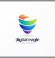 awesome digital eagle logo design vector image vector image