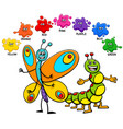 basic colors with butterfly and caterpillar vector image