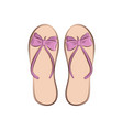 beach flip flops with a bow summer fashion vector image