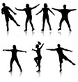 black set silhouettes dancing on white background vector image