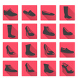 boots and shoes red and gray flat icons eps10 vector image vector image