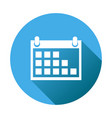 calendar icon on blue round background flat vector image vector image