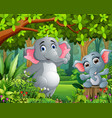 cartoon baby and mother elephant in a beautiful na vector image vector image