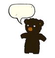 cartoon black bear with speech bubble vector image vector image