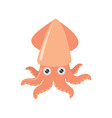 cartoon squid on white background vector image vector image