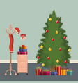 christmas workplace scene with file cabinet and vector image