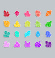 crystal patch sticker icons set vector image