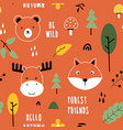 cute nature icons seamless pattern print design vector image vector image