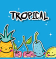 delicious tropical kawaii patches fruit design vector image vector image