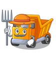 farmer cartoon truck on the table learn vector image