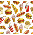 fast food meal pattern vector image vector image