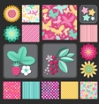 Flowers and berries stars and dots vector image