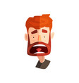 frightened redhead bearded man male emotional vector image