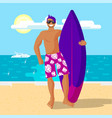 happy surfer in pink shorts holding a vector image vector image