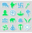 hinduism religions symbols set of stickers eps10 vector image vector image