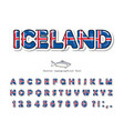 iceland cartoon font icelandic national flag vector image