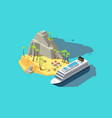 isometric island paradise in ocean 3d beach in vector image