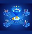 isometric online funnel generation sales customer vector image vector image