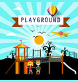 Kids on playground in city park cartoon