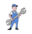 mechanic with spanner wrench standing vector image vector image