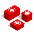 medical first-aid kits set of red boxes with a vector image vector image