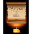Old Paper Scroll With Candle vector image