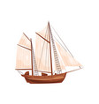 old wooden ship with big beige sails sailing vector image vector image