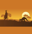 on the hill kangaroo scenery silhouettes vector image vector image