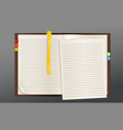 Opened textbook with cut page and bookmarks vector image vector image