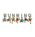 people running top view with text graphic vector image vector image