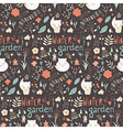 Seamless pattern with winter garden flowers foxes vector image vector image