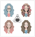 set hipster girls vector image