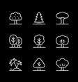 set line icons tree vector image vector image