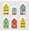 Set of images of winter Dutch house vector image vector image