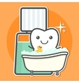 Tooth take a bath of mouthwash vector image