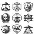 vintage monochrome ufo labels set vector image vector image