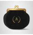 VIP Black leather purse with gold clasp vector image vector image